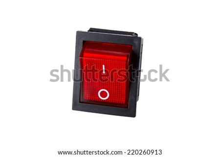 photo the switch the button of red color on a white background - stock photo