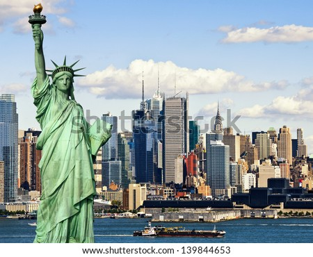photo tourism concept new york city with statue liberty - stock photo