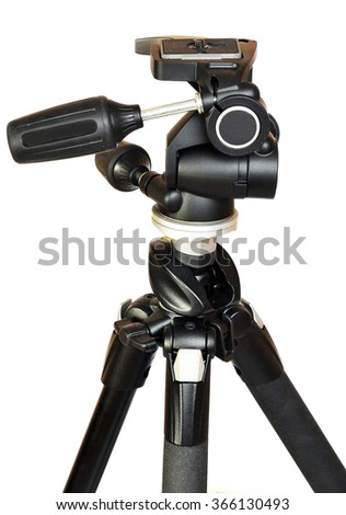 Photo tripod with head  isolated on white background - stock photo