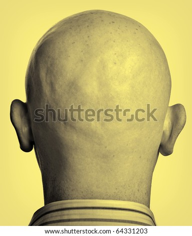 photo two tone close up male shaved bald head - stock photo