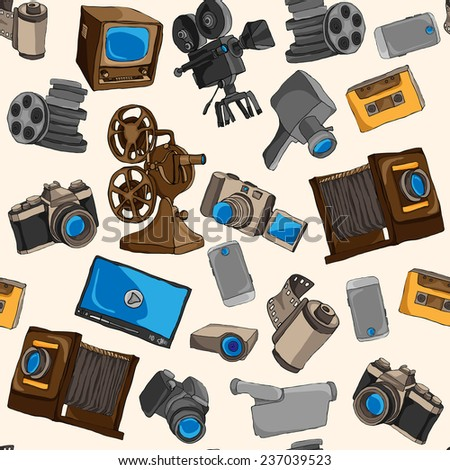 Photo video camera and multimedia entertainment technology colored seamless pattern  illustration - stock photo
