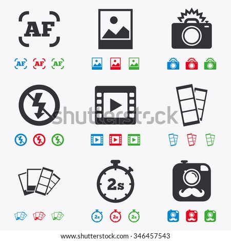 Photo, video icons. Camera, photos and frame signs. No flash, timer and strips symbols. Flat black, red, blue and green icons. - stock photo