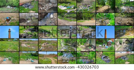 Photo which shows how people pollute the environment. - stock photo