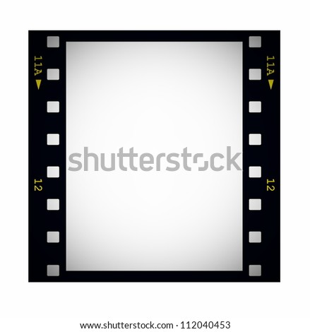 photo with blank film strip frame isolated on white - stock photo