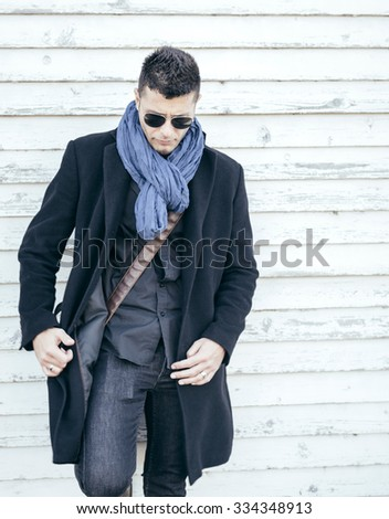 Photo with handsome man in coat,selective focus - stock photo