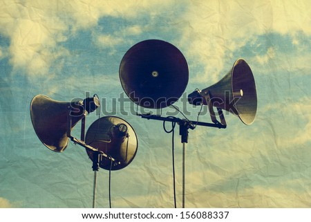 Photo with retro speakers, aged and worn vintage style photo - stock photo