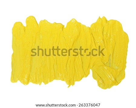 photo yellow grunge brush strokes oil paint isolated on white background - stock photo