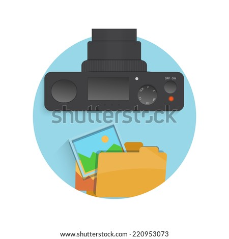 Photograph icon of camera, folder and photo in flat design style. Raster version - stock photo