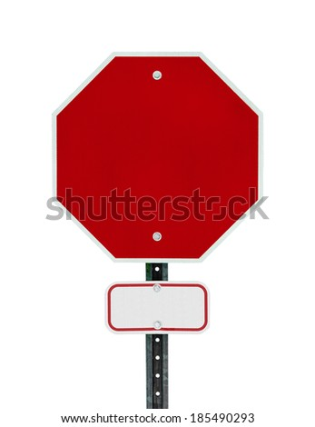 Photograph of a blank red traffic stop sign and a smaller all-way or 4-way sign below.  All text letters have been removed. Surface grid pattern has be left intact.  Isolated on a white background.    - stock photo