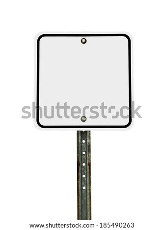 Photograph of a blank square shaped white traffic sign with black border. All text letters have been removed. Isolated on a white background.   - stock photo