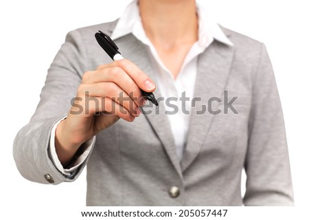 photograph of a bust of active woman holding a pen - stock photo