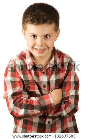 photograph of a child with arms crossed - stock photo