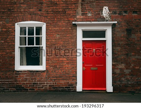 Photograph of a Red door and an owl - stock photo