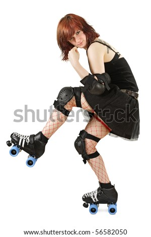 Photograph of a roller derby girl posing with her equipment. Slight shadow under skate. - stock photo