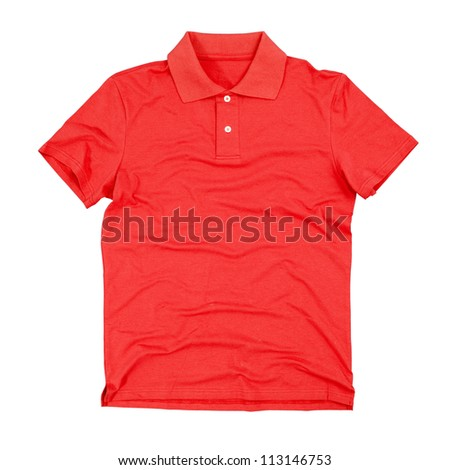 Photograph of blank polo t-shirt isolated on white background. Clipping paths included. - stock photo