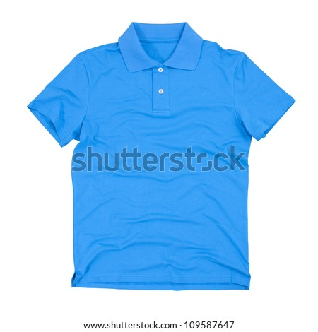 Photograph of blank polo t-shirt isolated on white. Clipping paths included. - stock photo