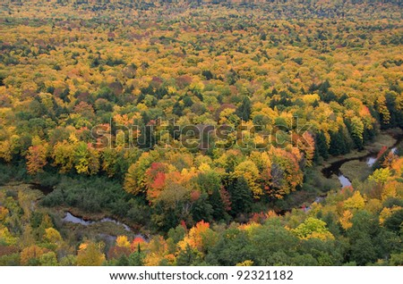 Photograph of brilliant fall foliage with a meandering river taken from a rocky cliff high above the forest. - stock photo