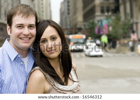 Photograph of couple with blurred background - stock photo