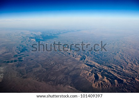 Photograph of earth viewed from the air - stock photo