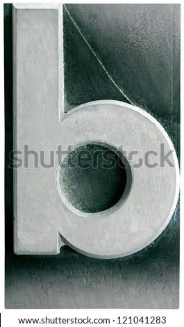 Photograph of Metal Letterpress Letter b - stock photo
