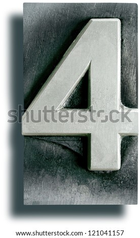 Photograph of Metal Letterpress Number 4 - stock photo