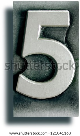 Photograph of Metal Letterpress Number 5 - stock photo
