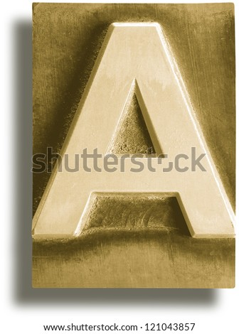 Photograph of Metal Letterpress Sepia Letter A - stock photo