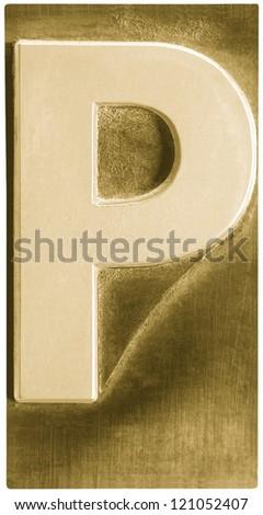 Photograph of Metal Letterpress Sepia Letter P - stock photo