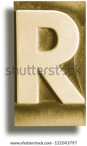 Photograph of Metal Letterpress Sepia Letter R - stock photo