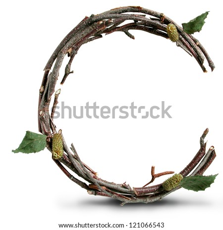 Photograph of Natural Twig and Stick Letter C - stock photo