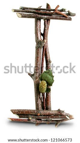 Photograph of Natural Twig and Stick Letter I - stock photo