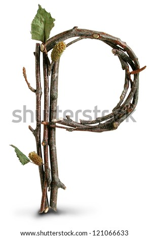 Photograph of Natural Twig and Stick Letter P - stock photo