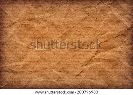 Photograph of old recycle, striped kraft Brown paper, coarse grain, crumpled, vignette, grunge texture - stock photo