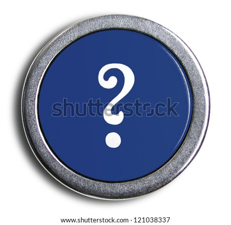 Photograph of Old Typewriter Key Question Mark - stock photo