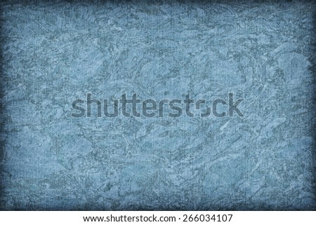 Photograph of Recycle Striped Powder Blue Pastel Paper, bleached, mottled, coarse grain, vignette grunge texture sample. - stock photo