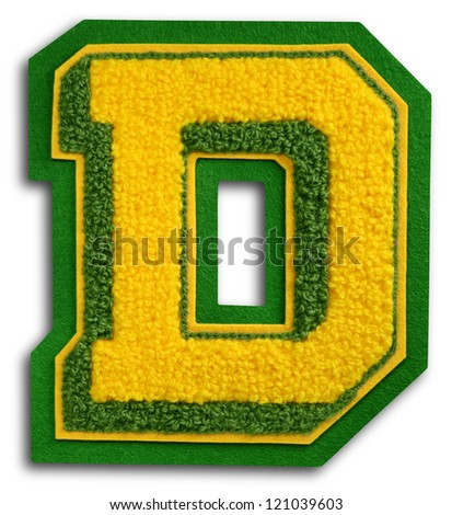 Photograph of School Sports Letter - Green and Yellow D - stock photo