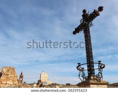 Photograph of the Aragonese town of Belchite, destroyed during the Spanish Civil War. - stock photo
