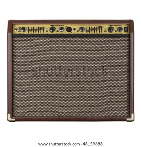 Photograph of the front of a guitar amplifier for acoustic guitar. - stock photo