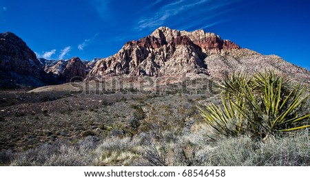 Photograph of the Mojave Desert just outside Las Vegas - stock photo