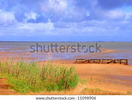 Photograph taken at Meningie featuring the low water line at Lake Albert due to the drought (South Australia) - stock photo