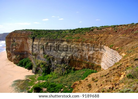 Photograph taken at the site of the Twelve Apostles on the Great Ocean Road looking back towards the cliff face (Australia). - stock photo