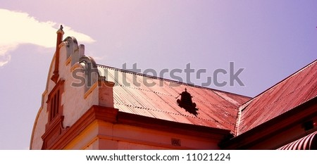Photograph taken Quorn featuring the roof & facade of a historic building (Outback Australia). - stock photo