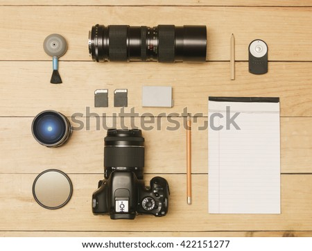 Photographer accessories in flat lay shot - stock photo
