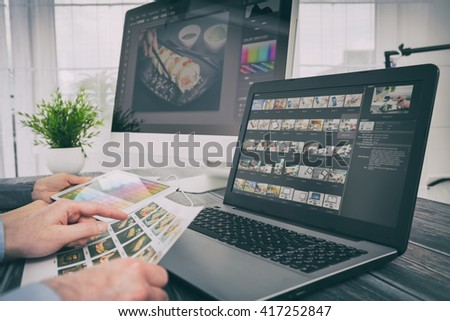 photographer camera editor monitor design laptop photo screen photography - stock image - stock photo