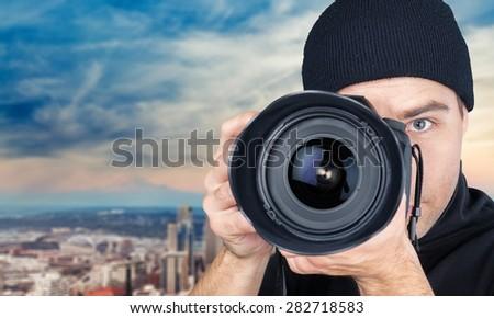 Photographer, Camera, Paparazzi Photographer. - stock photo