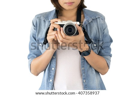 photographer girl taking picture on vintage camera, isolated and clipping path inside - stock photo