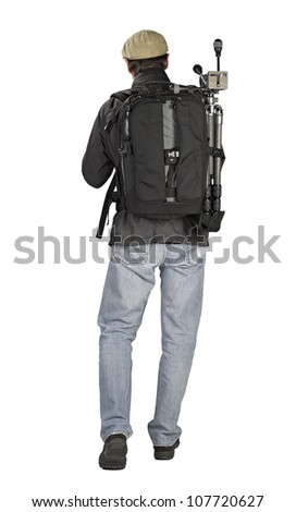 Photographer hiker, side view on white background - stock photo