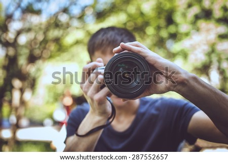 Photographer on the street. - stock photo