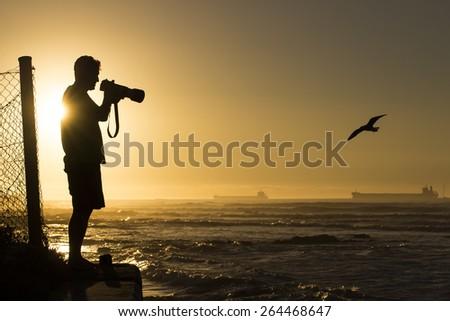 Photographer photographing birds at sunset - stock photo