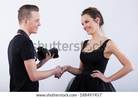 Photographer saying thank you to his beautiful model ...
